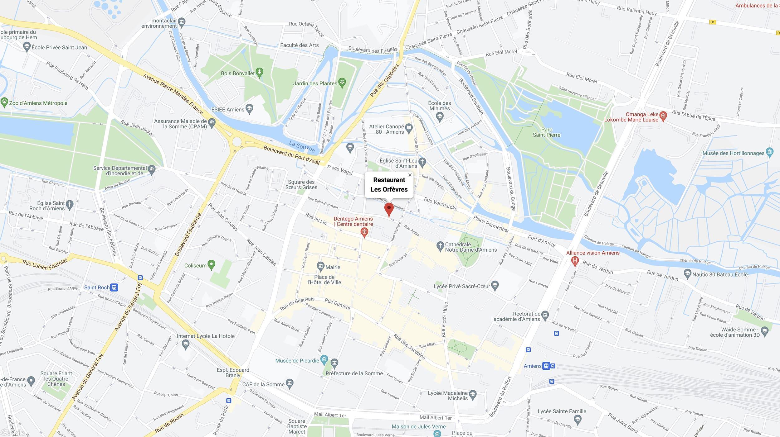 Les Orfèvres- Map · Restaurant Centre Ville d'Amiens